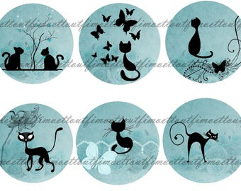 42Image digitale (minimum )cabochon chat sur fond bleu tapissé (envoi mail)