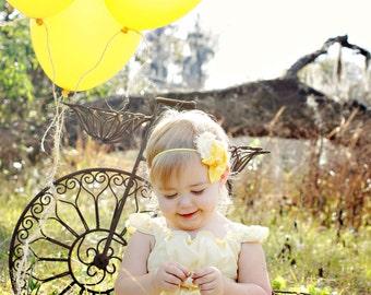 Sunshiney Day- shades of yellow collage headband