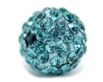 THE SHAMBALLA 10mm Pearl: AQUAMARINE rhinestone and resin