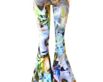 Swirling Smoke Print Bell Bottom Flares Leggings with High Waist & Stretchy Spandex Fit  150605