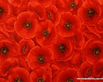 """One Half Yard Cut Quilt Fabric, Stacked Bright Red Poppies, """"Tuscan Poppies"""" by CHONG-A HWANG for Timeless Treasures, Sewing-Quilt Supplies"""