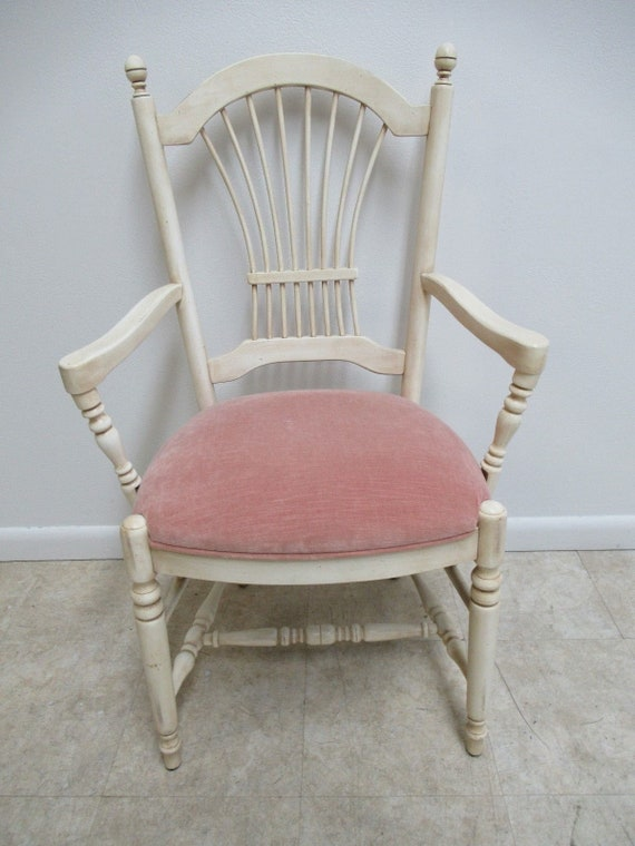 Ethan Allen Country French Paint Decorated Fan Back Dining Room Desk Chair
