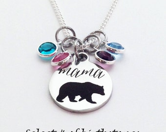 Mama Bear Necklace, Mama Bear, Mom Gifts, Mom Birthstone Necklace, Mothers Day Gift for Mom, Mama Bear Gifts, Mothers Day Gift, Mom Birthday