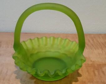 Green Glass Basket with Handle~Westmoreland Rose & Trellis Satin Green Glass Basket 1960s