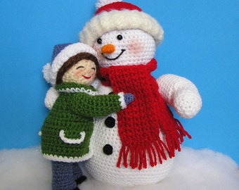 Pdf Crochet Pattern LITTLE GIRL and SNOWMAN (English only)