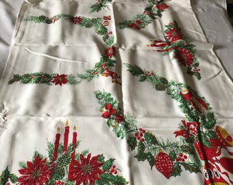"""Vintage Printed Cotton Christmas Holiday Tablecloth Poinsettia Candles and Bells 54""""x64"""""""