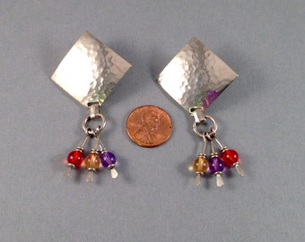 "Vintage Silver Textured Post Earrings with Red, Yellow, and Purple Bead Dangles 2.75"" Long 1 & 3/8"" Wide Previously 20 Dollars ON SALE"