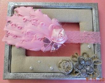 Pink Ostrich Feather  Headband