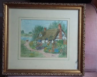 Mid 20th Century Original Watercolour of a Cottage