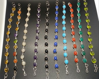 Sterling silver and gems brackelets - selection of 10 colours and gem stones