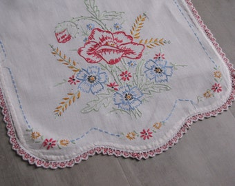 Vintage White Embroidered Dresser Runner - 38 inches X 10 inches