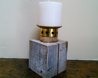 Reclaimed Industrial Pillar Candle Holder