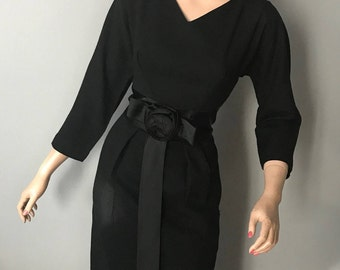 Vintage wool,satin 50's lbd,wiggle dress-XS-S