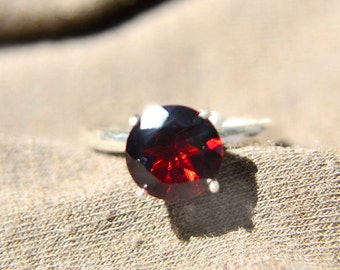 Garnet Ring, Almandine Garnet and Silver Ring, January Birthstone, Bridesmaids Gifts