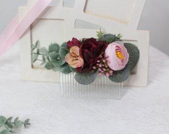 Pink wedding flower comb eucalyptus hair comb Pink burgundy floral accessories burgundy floral comb Bridesmaid flower accessories Burgundy