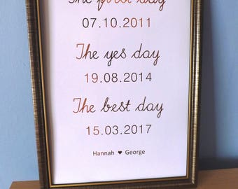 Wedding Print - Engagement Print - Important Dates Print - Romantic Couples Foil Print - The First Day, The Yes Day, The Best Day Print