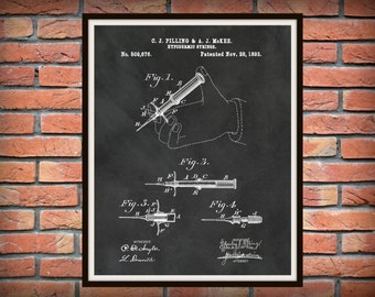 Patent 1893 Hypodermic Syringe Art Print - Poster - Medical Needle - Doctors Office - Nurse Art - Emergency Room Art - Hospital Wall Art -