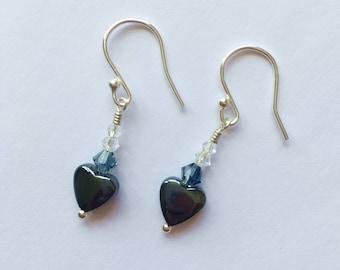 Hematite Heart And Crystal Earrings