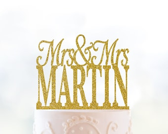 Custom Lesbian Wedding Cake Topper, Mrs and Mrs Cake Topper, Gay Wedding Cake Topper, Last Name Cake Topper, Lesbian Wedding Decor (T153)