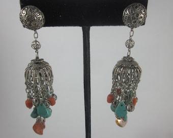 Vintage Turkish Uzbek Topaz, Turquoise, Coral Filigree Earrings