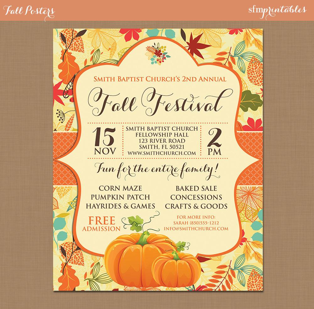 Fall Festival Harvest Invitation Poster Pumpkin Patch Farm - Fall festival flyer templates free