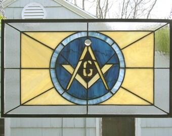 "Stained Glass Window Panel--Masonic Symbol- 11"" x 19"""