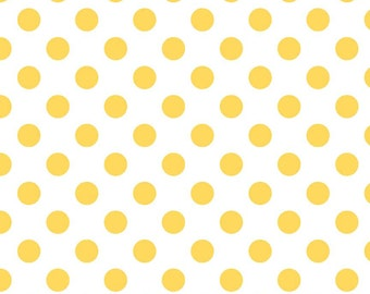 Yellow Polka Dot Fabric - Riley Blake Medium Dot - Yellow and White Dot Fabric