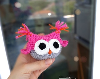 Amigurumi Owl, Gift For Girl Age 6 7 8 9 10 11 12, Stuffed Toys, Girls Room Decoration In Pink Present For Birthday Crochet Knitted Owl