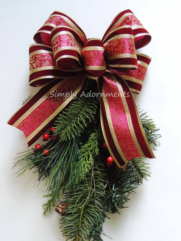 Burgundy Gold Bow Velvet Burgundy Gold stripes Christmas