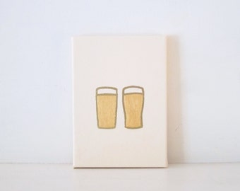 PINT GLASSES - Ivory & Gold Beer Glasses PAINTING - Couples Glasses Painting - Toasting Glasses Wedding Gift - Toasting Beer Glasses Print
