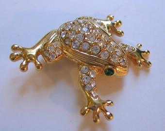 Swarovski Crystals Gold Tone Frog Pin Brooch - 45 Crystals