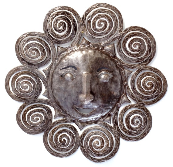 """Metal Sun - Handcrafted Wall Art From Haiti, Recycled Oil Drums 23""""x23"""""""