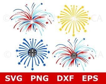 Firework SVG / Fireworks SVG / Cirle Monogram SVG / 4th Of July Svg / Patriotic Svg / Canada Day Svg / Svg Files for Cricut / Silhouette