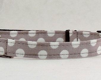 Cat Collar or Kitten Collar - Grey Polka Dots