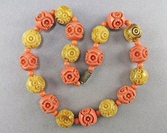 Art Deco Necklace Carved Celluloid Beads Necklace Vintage Jewellery Antiques Collectibles