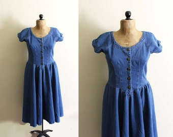 vintage dress 90s denim feminine minimalist 1990s womens clothing size medium m 8 10