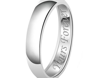 4mm My Soul Mate Always & Forever Engraved Classic Sterling Silver Plain Wedding Band Ring fBpI7
