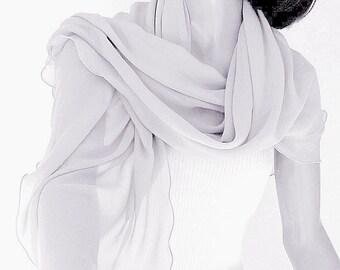 Pale Gray Shawl Silk Chiffon, Silver Grey Sheer Wrap, Formal Evening Coverup, Light Silver, Petite XS, S, M, L, Artisan Handmade Artinsilk
