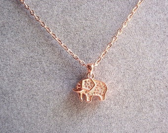 1 Cubic Zirconia (CZ) Elephant Pendant, Jewelry Making Supply, Rose Gold Color Brass, Red Eye and clear CZ in body