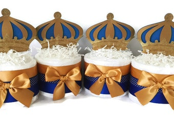 SET OF 4 Prince Mini Diaper Cakes, Prince Theme Baby Shower Centerieces, Royal Blue and Gold Party Decorations