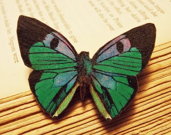 Wooden Butterfly Brooch