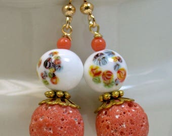 Vintage Sponge Coral Bead Dangle Drop Earrings, Vintage Japanese White Millefiori Glass Beads,Gold French Ear Wires