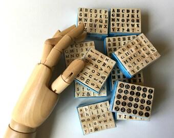 Mini Alphabet Rubber Stamp Set ... alphabet stamps wood mounted craft supplies destash fonts letters new scrapbooking tools diy card making