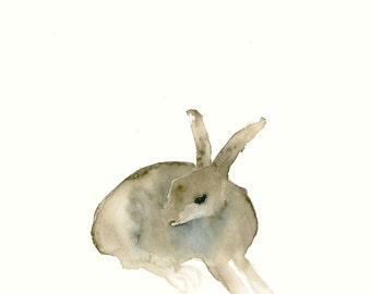 Fine Art Print from Original Watercolor Painting Hare