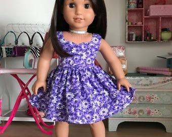 """18 inch, 18"""" doll clothes-  Purple flowered  dress."""