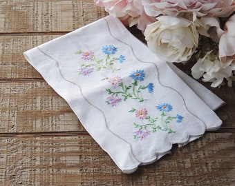 Vintage Embroidered Flowers Linen Tea Towel with Scalloped Edges, Small Hand Towel Table Runner Dresser Scarf