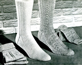 1960's Men's Mid Century Socks  PDF Pattern Instant Download