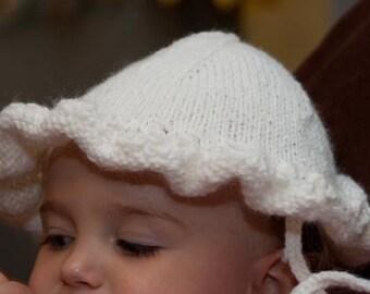 Snowy White Baby Girls Knit Sunhat 12-18 months