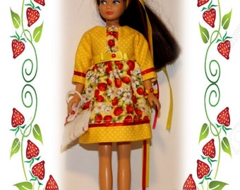 """Grandma's Heirloom Collection """"Strawberries"""" Dress, Purse, Hair Ribbons & Bracelet.  Handmade from a Vintage Skipper Clothes Pattern."""