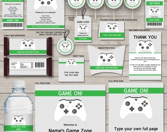 Video Game Party Invitations & Decorations - full Printable Package - Gamer Theme Birthday - INSTANT DOWNLOAD with EDITABLE text - you edit